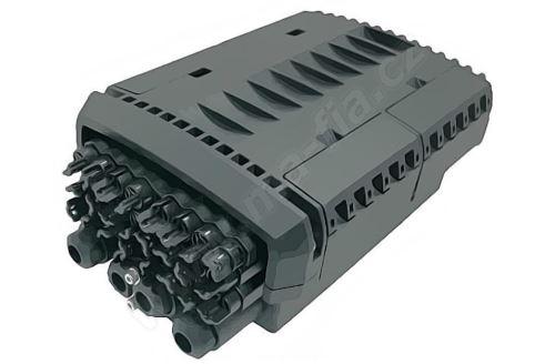 Optická průchozí spojka, IP67, výklopné kazety pro 48 svárů, 24xSC, 26+2 vstupních portů