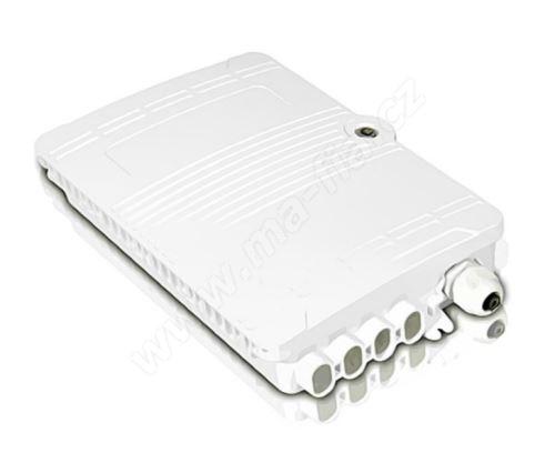 Optický box, IP44, výkl. kazeta 8 sv., 8xSC simplex / LC duplex, zámek, 165x220x80mm