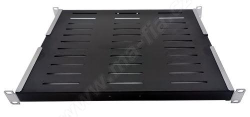 """Wirex, 19"""" police 1U 250mm, perforace, přední uchycení, nosnost 15kg, černá"""
