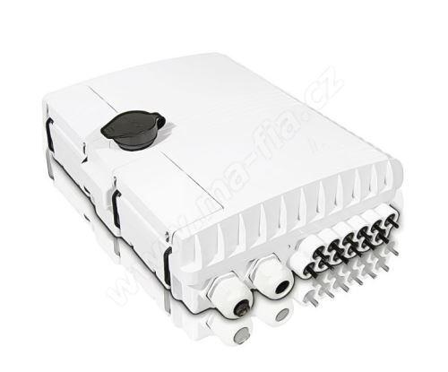 Optický venkovní box, IP54, 12xSC simplex / LC duplex, výkl, kazeta 24 svárů, uzamykatelný