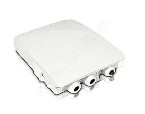 FTTH optický box, IP54, výklop. kazeta 12 svarů, pro 8xSC, LCD, držák pro PLC splitter
