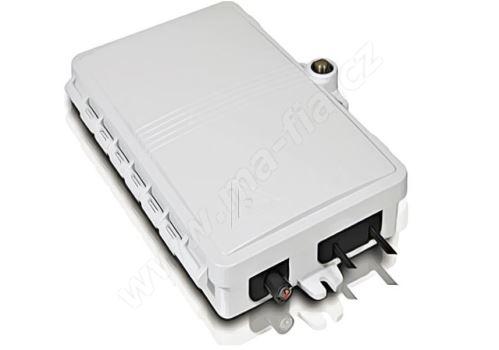 FTTx optický box, IP44, výklop. kazeta 8 svarů, pro 4xSC, LC, drž. splitteru, 135x205x38mm