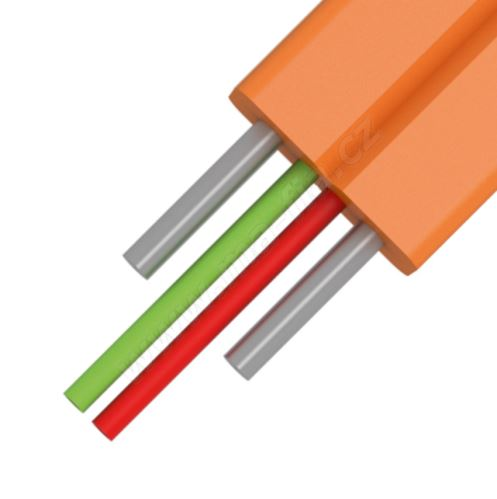 Kabel optický FLAT Drop FRP plochý, 2vl., 9/125, Z043, bílý, 2x3mm, Fca, KDP