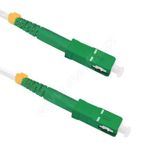 Patch cord, flexibilní vlákno G.657.A2, armovaný, 9/125, SC/APC-SC/APC, simplex, 5m, bílý